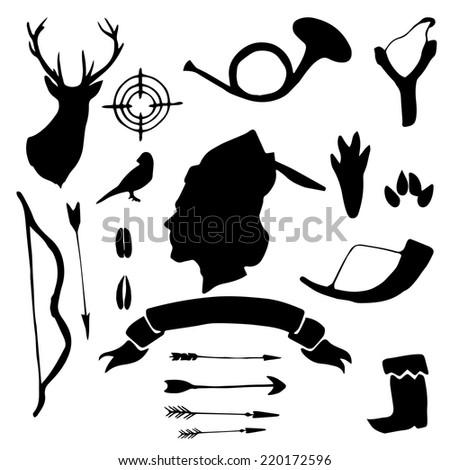 Retro hunter silhouettes hand drawn set. Vintage vector illustration. - stock vector