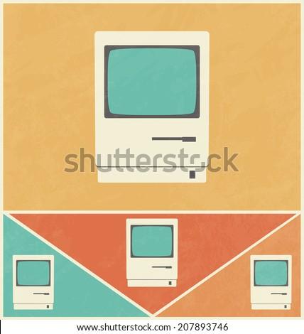 Retro Icon Design - Old Computer - stock vector