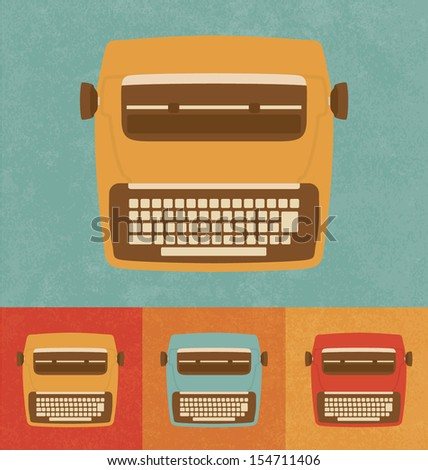 Retro Icons - Modern Typewriter - stock vector