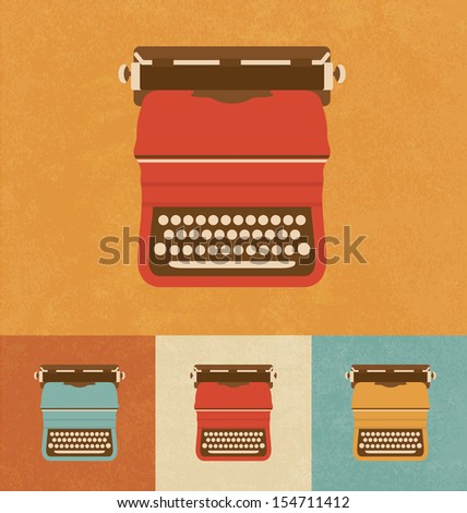 Retro Icons - Old Typewriter - stock vector