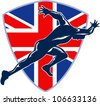 Retro illustration of a runner sprinter running sprinting viewed from side with union jack Great Britain British flag set inside shield on isolated white background. - stock
