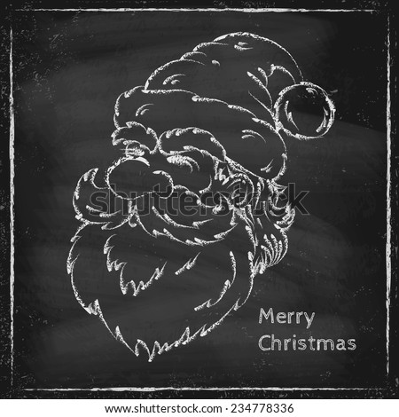 Retro illustration of a Santa Claus on chalk board - stock vector