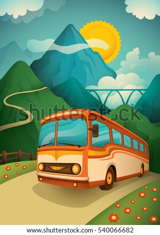 Retro illustration of a travel bus in the nature with mountain and sky. Vector illustration.