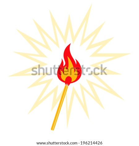 Retro illustration of burning match - stock vector