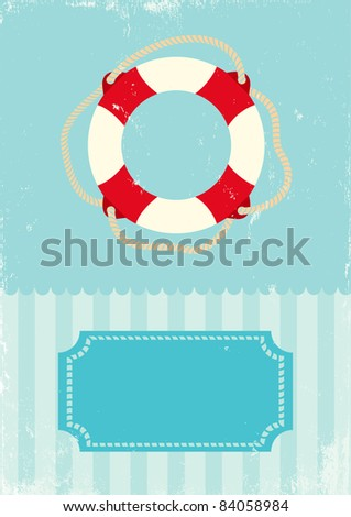 Retro illustration of marine life buoy - stock vector