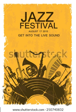Retro illustration with musical instruments and vinyl record. Music concept. Musical creative invitation - stock vector
