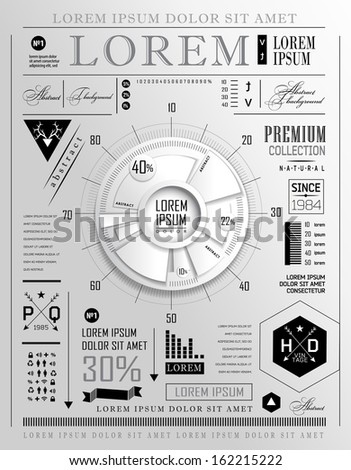 Retro infographic, typography set. World Map and Information - stock vector