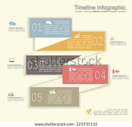 Retro infographics with elements and icons. Vector illustration - stock vector