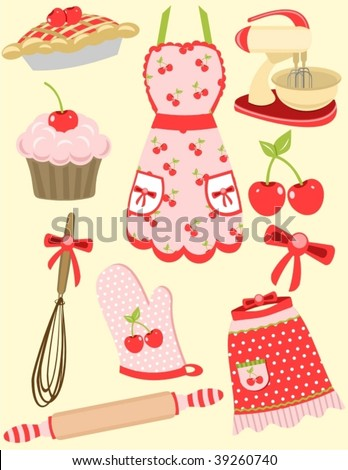 Retro inspired cherry baking set! Fifties flare and girly accents! Bring out your domestic diva. Great for lots of embroidery projects, paper crafts or web graphics! - stock vector