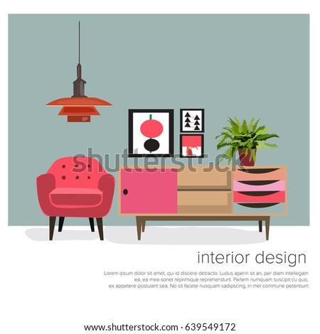 Retro Interior Design Elements Set With Text Vector Furniture Mid Century Modern Illustration 1950 1960