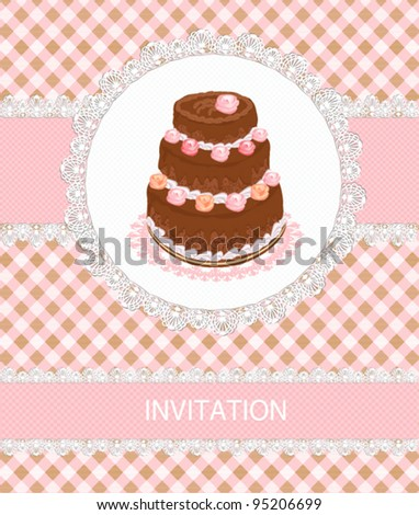 retro invitation card with a chocolate cake - stock vector
