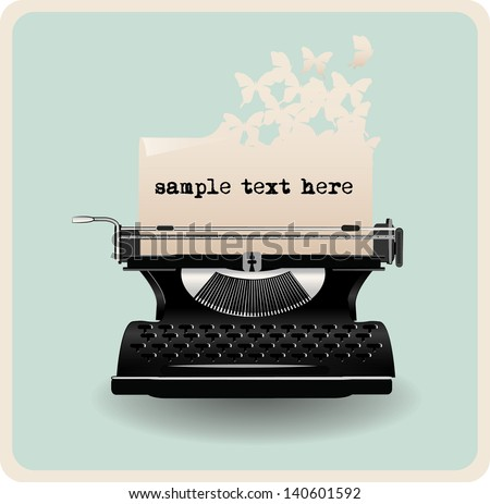 retro invitation card with typewriter - stock vector