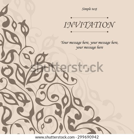 Retro invitation or wedding card with damask background and elegant floral elements. Elegant seamless pattern with branches and leaves, Vector illustration. Retro floral background. - stock vector
