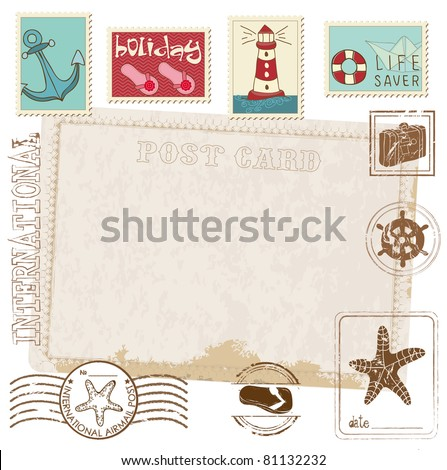 Retro Invitation postcard with SEA stamps - for design and scrapbook - stock vector