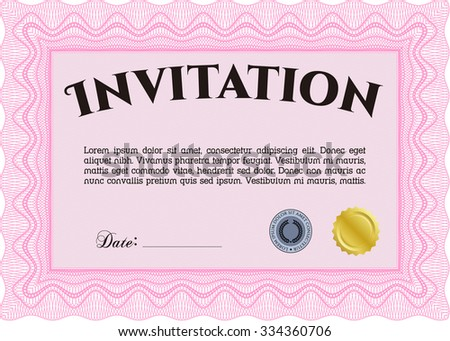Retro invitation. With background. Excellent complex design. Border, frame. - stock vector