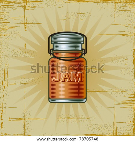 Retro Jam Jar. Vector - stock vector