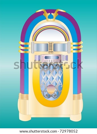 retro jukebox ( background on separate layer ) - stock vector