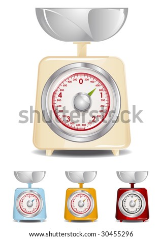Retro Kitchen Scale Illustration (Global Swatches Included) - stock vector