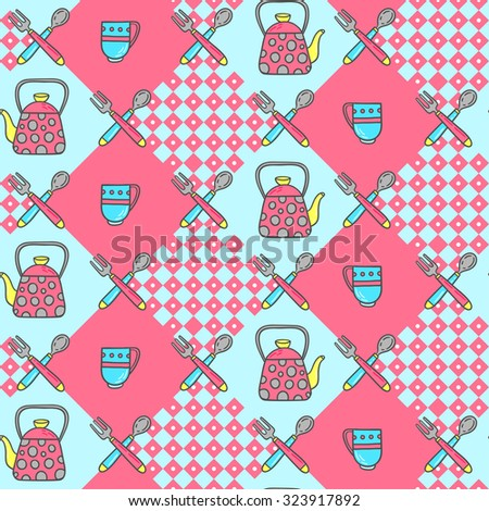 Retro kitchen seamless background. Hand-drawn 50s style cooking vector illustration. - stock vector