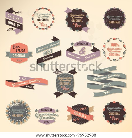 Retro label collection - stock vector