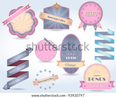 Retro Label Vector Design Multicolored Pastel Style - stock vector