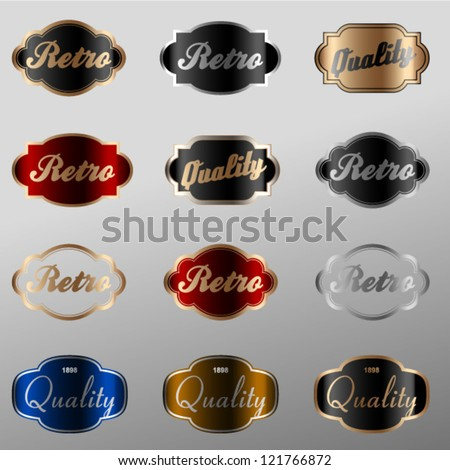 Retro labeles set - stock vector