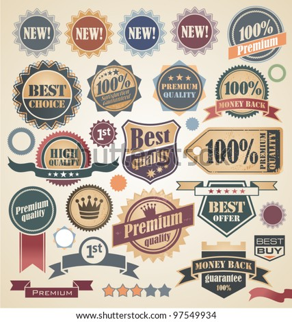 Retro labels and stickers collection. Vintage set of signs, symbols, icons and badges.  - stock vector