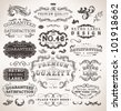 Retro labels and vintage badges: Original Brand, Guaranteed and Satisfaction, Genuine | Set of old page elements for design - stock vector