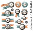 Retro labels ribbons and design elements - stock vector