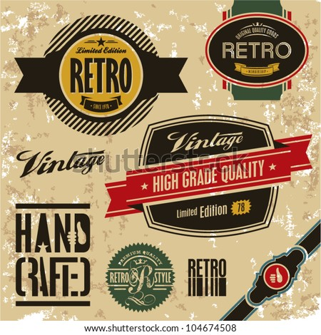 Retro labels set. Vintage labels collection.