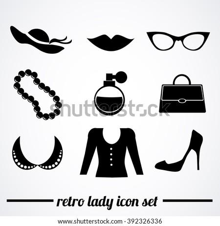 Retro ladies accessories. Vector icon collection. - stock vector