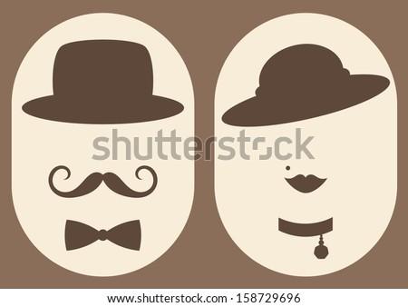 retro lady and gentleman symbol - stock vector