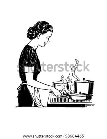 Retro Lady Cooking - Retro Clip Art - stock vector