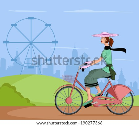 Retro lady riding bicycle in vector illustration - stock vector