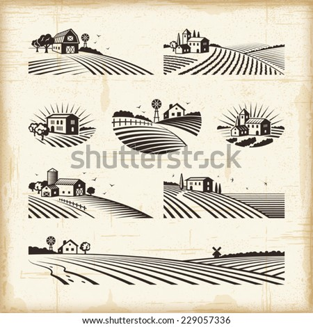 Retro landscapes. Editable EPS10 vector illustration with clipping mask. - stock vector