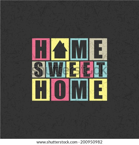 Retro letters Home, Sweet Home in frame vector illustration  stock