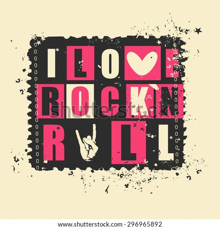 "Retro letters ""I love Rock`n Rock"" on grunge postage stamp. vector illustration - stock vector"