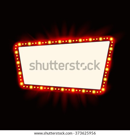 Retro light banner. Vector glowing theater cinema Sign. Retro red shining light billboard - stock vector