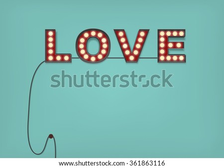 Retro Light Bulb Love Sign on an Pale Blue Wall with a cable hanging down, and glowing little bulbs. Lots of room for your text: Copy Space - stock vector