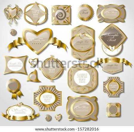 Retro light gold label/can be used for invitation, congratulation - stock vector