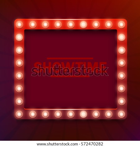 Grungy Sign Marquee Lights Hanging By Stock Illustration