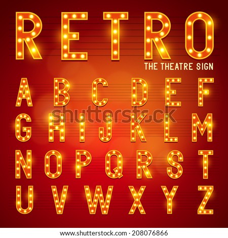 Retro Lightbulb Alphabet Glamorous showtime theatre alphabet. Vector illustration. - stock vector