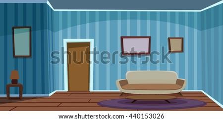 Retro Living Room / Blue - stock vector