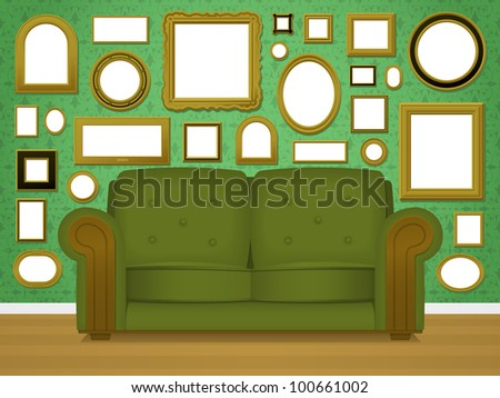Retro living room interior vector with an upholstered green couch in front of a wallpapered wall covered in multiple empty blank picture frames in a variety of shapes and sizes - stock vector