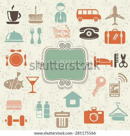 retro locations and places icons with frame on shabby background - stock vector