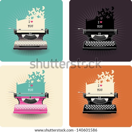 retro love card with typewriter - stock vector
