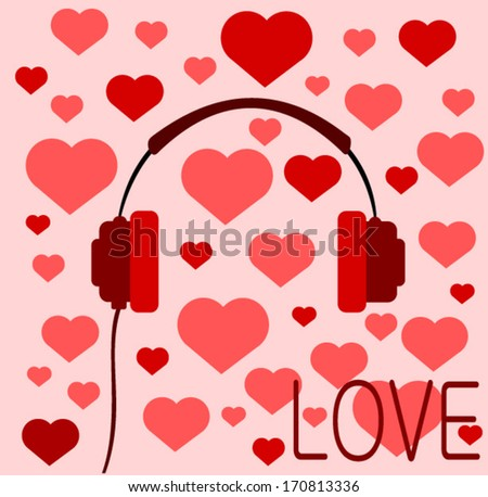 retro love headphones with hearts - stock vector