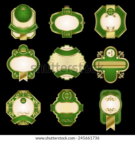 Retro luxury labels in golden and green colors with ornate floral decorative elements, ribbon banners and crowns for premium product pack and beverage design - stock vector