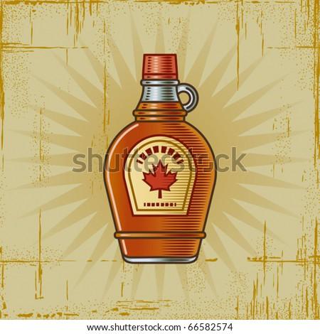 Retro Maple Syrup Bottle. Vector - stock vector