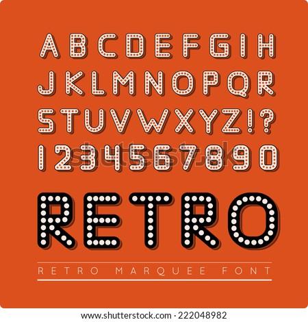 Retro marquee font - stock vector